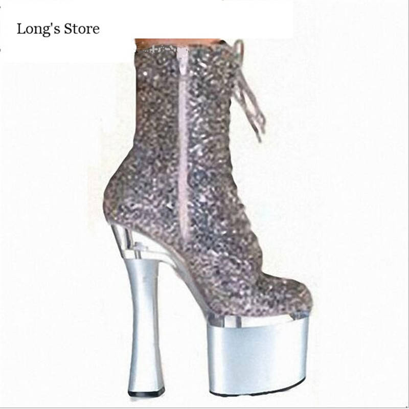 ФОТО CDTS shoes woman Party Queen:35-45 46 2016 Winter/Autumn 18cm Square high heels Glitter Martin  boots platform pumps botas mujer