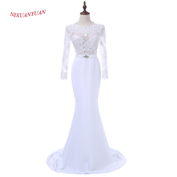 NIXUANYUAN New Custom Made White Chiffon Mermaid Prom Dress 2020 Appliques Sexy Party  Dresses Long vestidos de baile With Belt