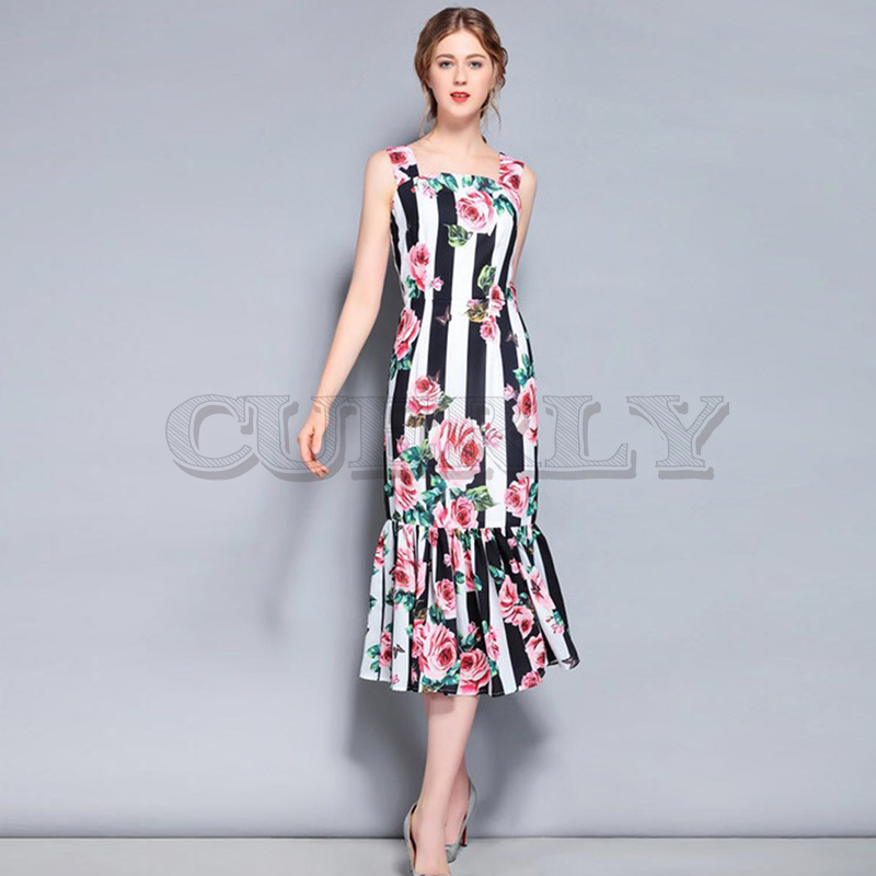 Cuerly Newest Fashion Designer slash neck dress 2019 Womens Spaghetti Strap Striped Rose Printed Mermaid Dresses