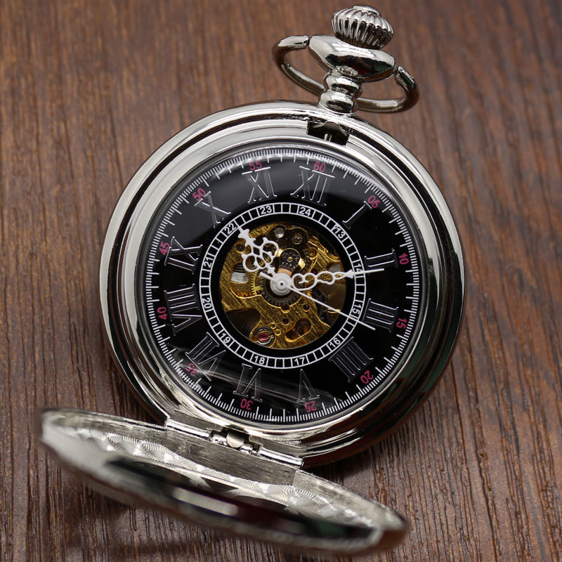 Pocket Watch Relogio De Bolos New Retro Hand Wind Mechanical Pocket Watch Hollow Case Roman Numeral