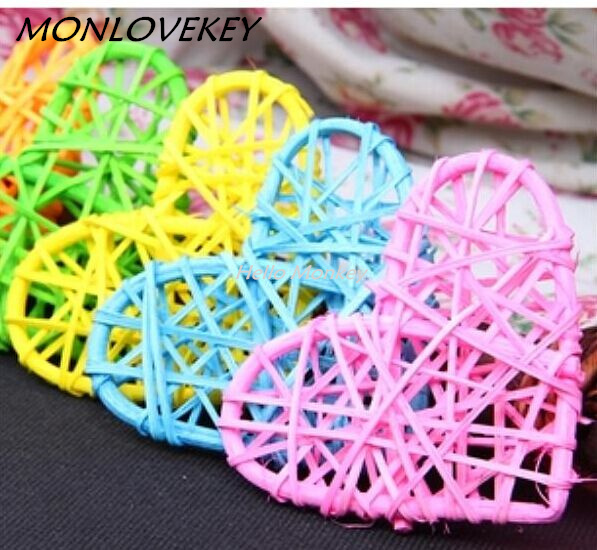 New arrival Colorful 9CM rattan ball decoration with hearted shaped with different rattan wedding decorations Home