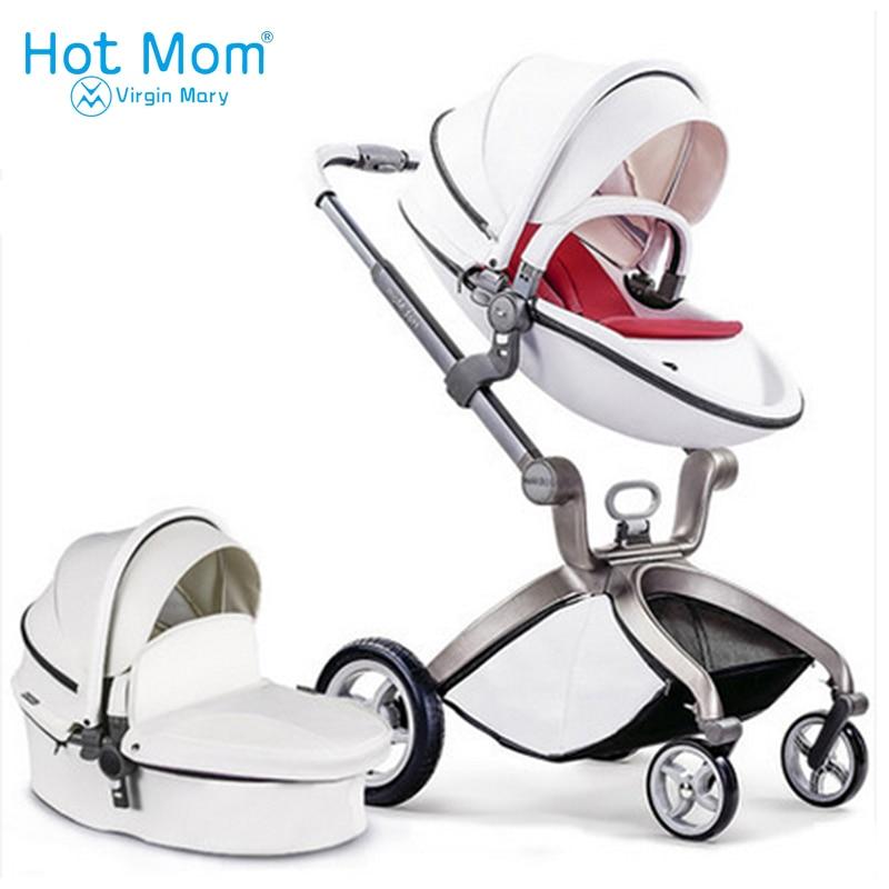 Hotmom Детская коляска 3 в 1 и 2 в 1 детская коляска искусственная кожа может сидеть и лежать четыре сезона зима Россия Бесплатная доставка