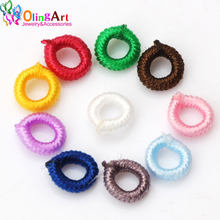 OlingArt 6mm 50pcs/lot Colorful Clasps Nylon ring For round 3mm leather rope/cord DIY tassel bracelet necklace Jewelry making(China)