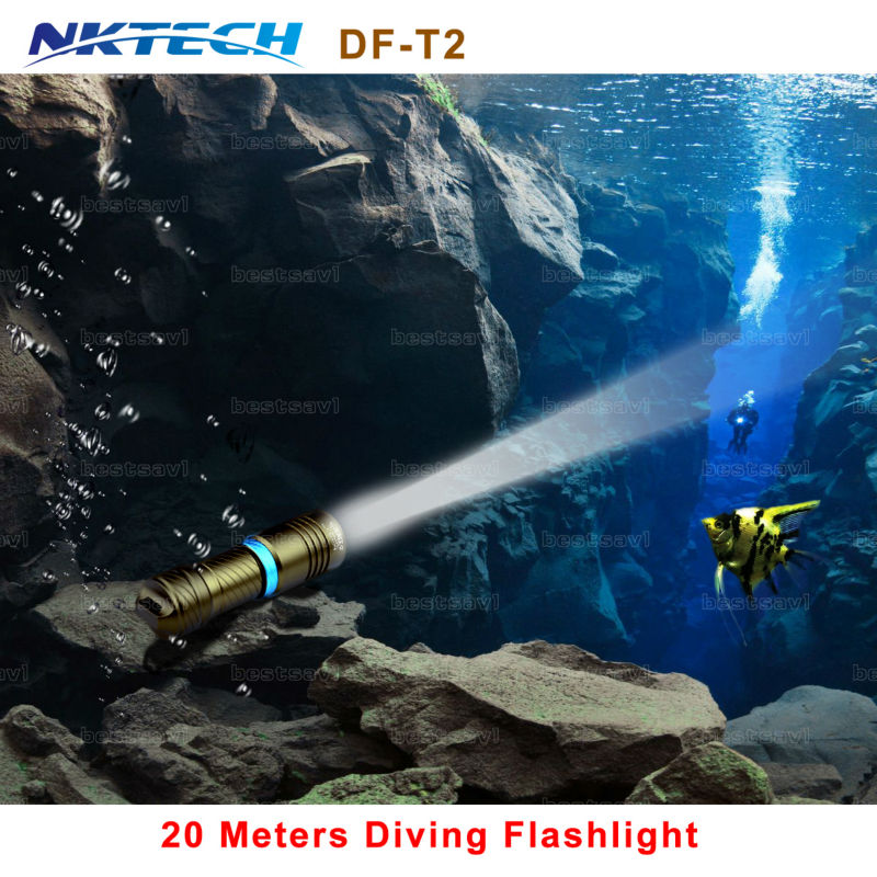 NKTECH DF-T2 Diving flashlight 18650 or 26650 LED Underwater light XM-L2 Waterproof dive light Lamp Torch Portable Lanterns Nigh