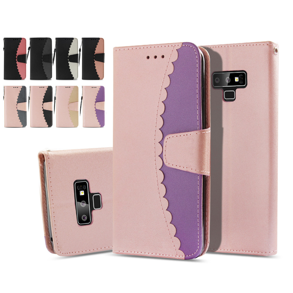 LUCKBUY Cute Two Colors Designed PU Flip Leather Case For Samsung Galaxy S7 Edge S8 Plus S9 Plus Note 9 Note9 Wallet Stand Case