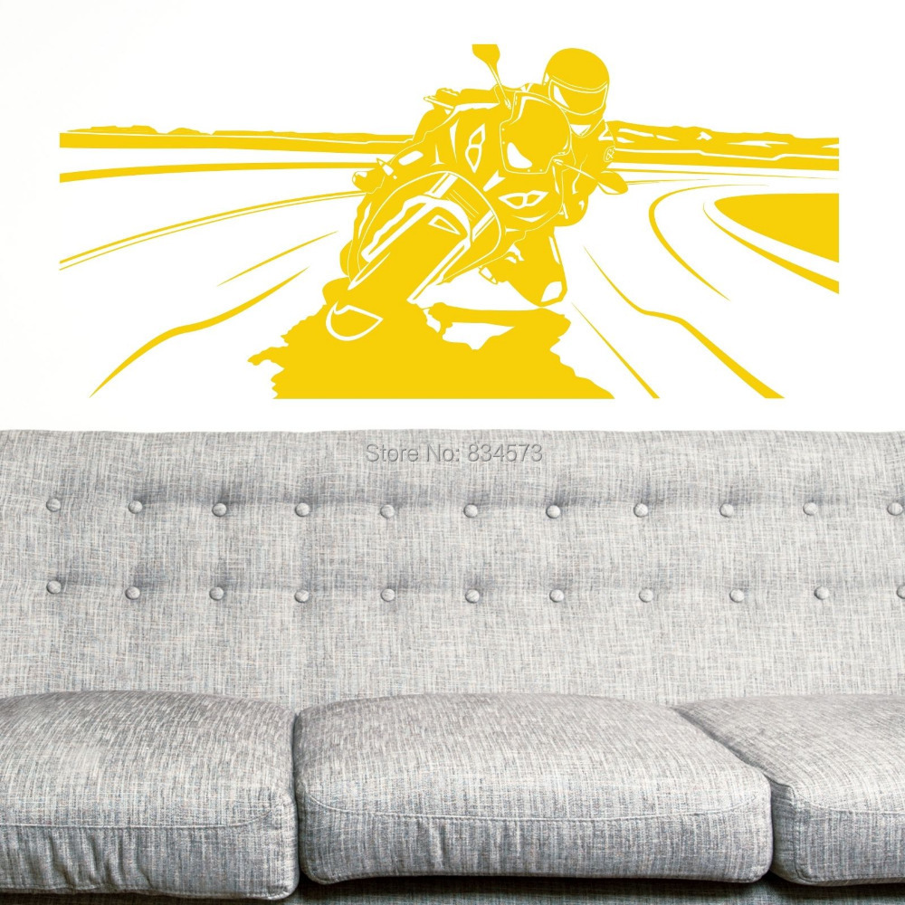 Hot MOTORBIKE Silhouette Wall Art Stickers Decal Home DIY Decoration ...