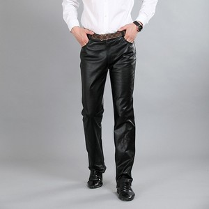 Image 4 - New Fashion Male Genuine Leather Pant 2020 Autumn High Street Straight Loose Classic Trouser Biker Soft Pantalon Man Plus Size