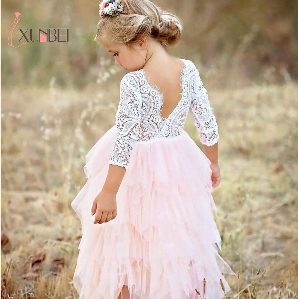 Princess Soft Tulle White Pink Puffy Lace Flower Girl Dresses 2018