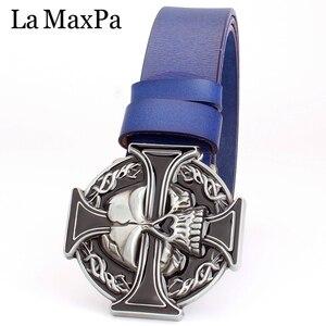 Image 4 - Man skull belt Punk style men belt buckle skull head silver skull Cross skeleton pattern mens genuine leather belt gift for man