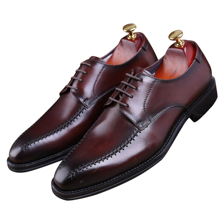 Fashion Brown tan / black pointed toe business shoes mens dress shoes genuine leather Goodyear Welt shoes mens wedding shoes цены онлайн