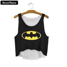 SexeMara Fashion Bat Mysterious Women Crop Tops Short Sexy Tank Tops Vintage Girls Batman Shirt Black Personality Cropped F669