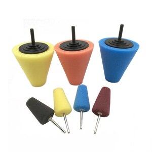 Image 1 - 7 Uds. De almohadillas pulidas para Manilla de puerta de coche, almohadillas pulidas para buje de rueda, almohadilla para pulir, esponja con forma de cono de esquina automática