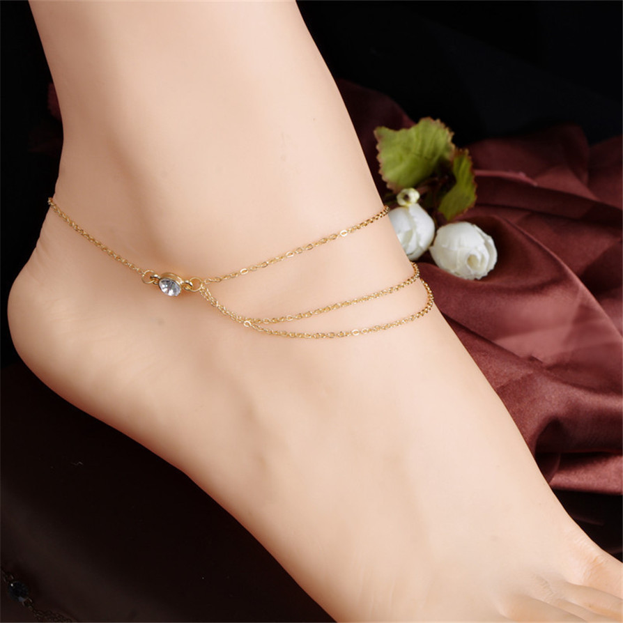 1 Color 2018 Anklets New Fashion Beach Barefoot Sandal Ankle Foot Link Multi Tassel Chain Anklet Bracelet Drop Shipping jc26
