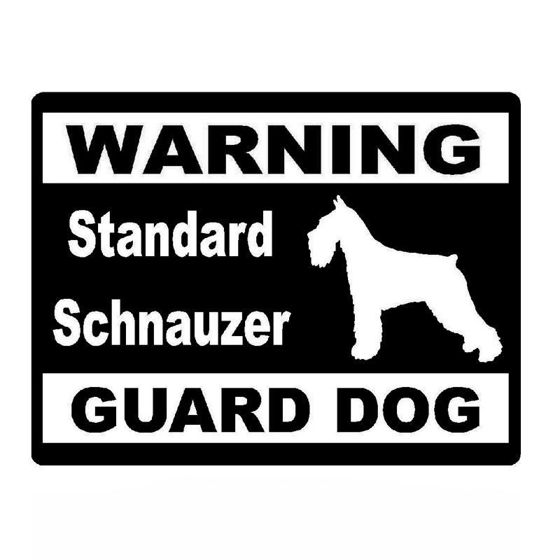 14cm*10.6cm Creative Car Stickers Warning Standard Schnauzer Guard Dog Vinyl Car Stickers C5-1940 standard schnauzer