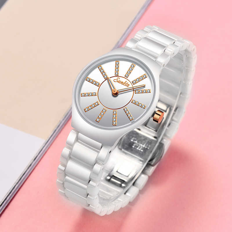 SUNKTA Relogio Feminino נשים שעונים למעלה מותג יוקרה יהלומי אופנה עמיד למים שעונים נשים פשוט קרמיקה קוורץ שעון + תיבה