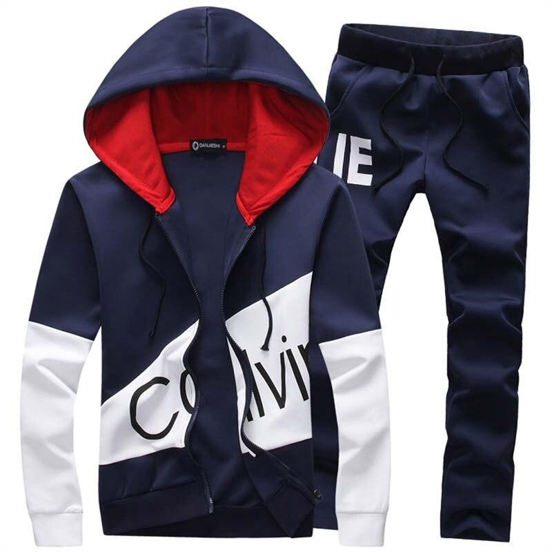 Estilo de moda de 2 piezas conjunto de chándal Casual de los hombres abrigo sudadera + Pantalones ropa deportiva hombre traje tamaño para Hombre Sudaderas con capucha