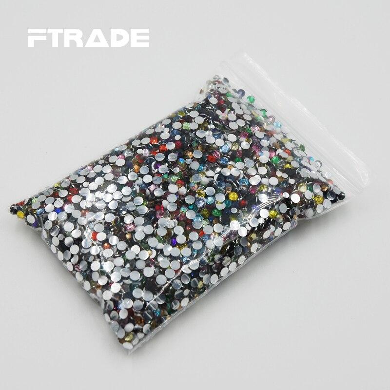 Promotion! Super deal Shiny 10000pcs 3mm Mixed Color Flat Back Rhinestones Glitter Gems Nail Fashion DIY Garment Accessories