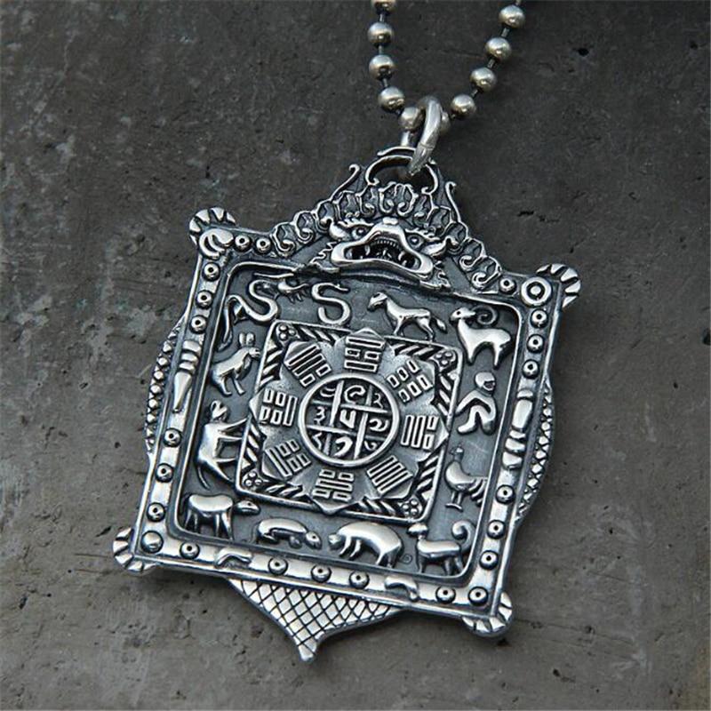 Authentique 925 pendentif en argent Sterling zodiaque chinois huit diagrammes pour hommes Punk Rock hommes bijoux accessoires bouddhistes