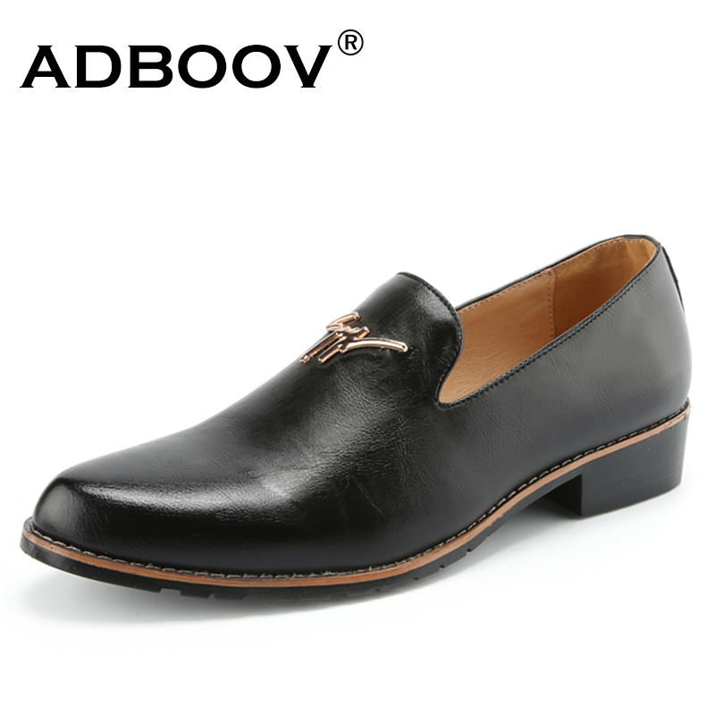 ADBOOV 2018 New Mens Business Shoes Leather Casual Shoes Men Low Heel Slip On Loafers Black/Brown/Red the jews of east central europe between the world wars paper