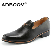 ADBOOV 2018 New Mens Business Shoes Leather Casual Shoes Men Low Heel Slip On Loafers Black