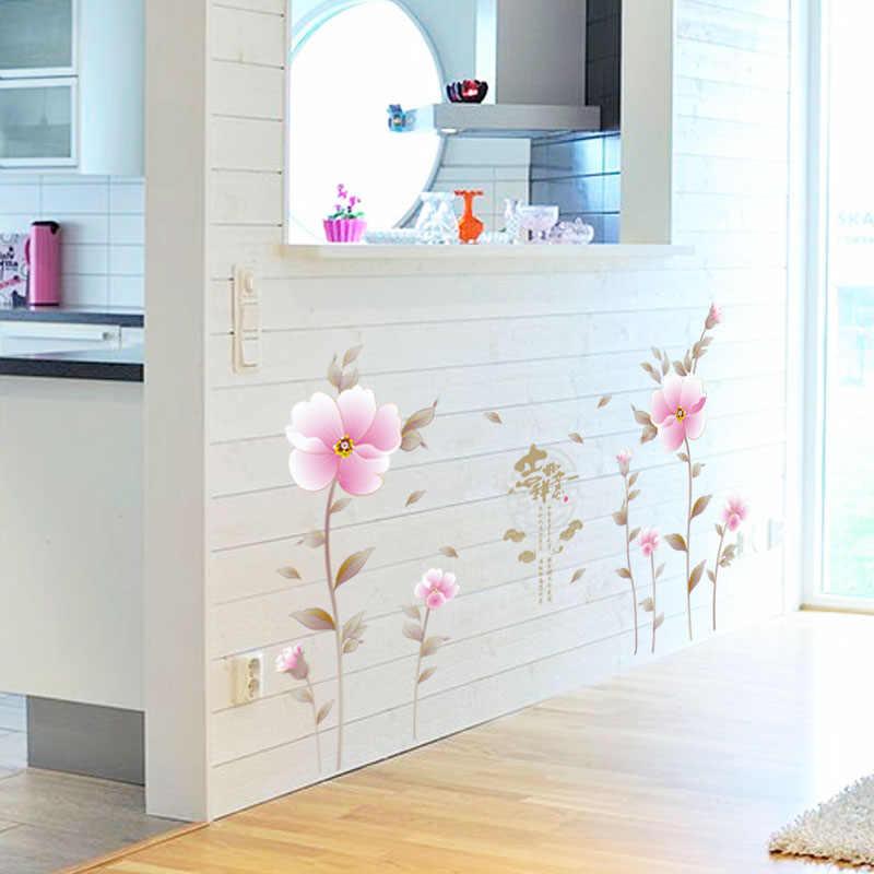Fundecor Diy Pink Wall Sticker Flower Living Room Bedroom Interior Wall Decoration Decals Pvc Murals Home Deocr Wall Decor Pink Wall Stickerswall Sticker Flower Aliexpress
