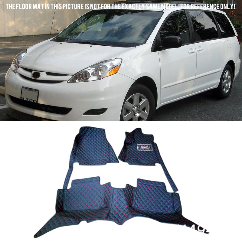 For Toyota Sienna 2004-2009 XL20  Interior Custom Waterproof  Car Styling Front & Rear Floor Mats  Carpets Full set car styling top mount hardtop rear grab handle bar front rear interior parts metal for jeep wrangler 2007 later