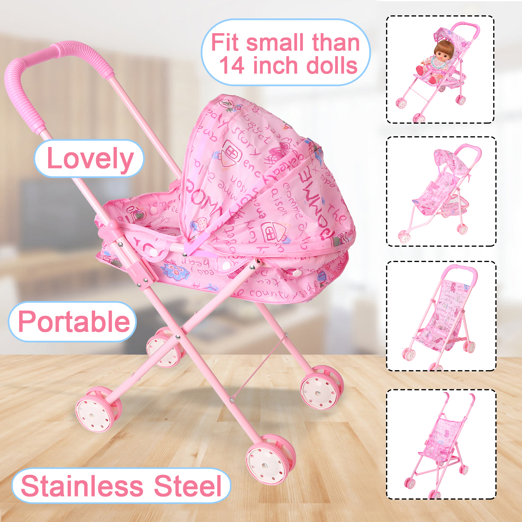 Dolls Accessories Baby Doll Carts Stroller Pink Foldable