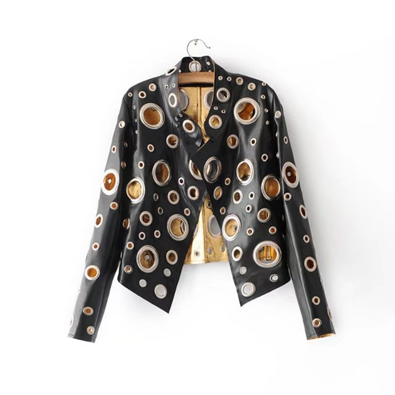 Brieuce Style Fashion Heavy Metal Circle Hollow Out   Leather   Motorcycle Jacket Women Slim Style Spring Autumn Jacket outerwear
