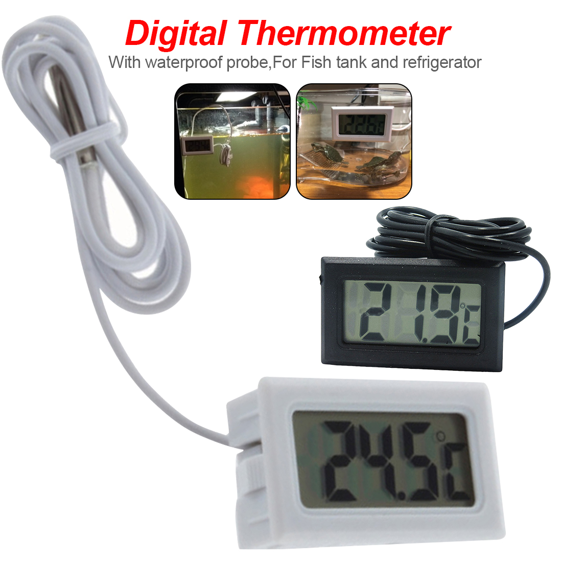 Aquarium Freezer Refrigerator Digital thermometer Electronic thermometer With waterproof probe -<font><b>50</b></font>~<font><b>110C</b></font> LCD Display image