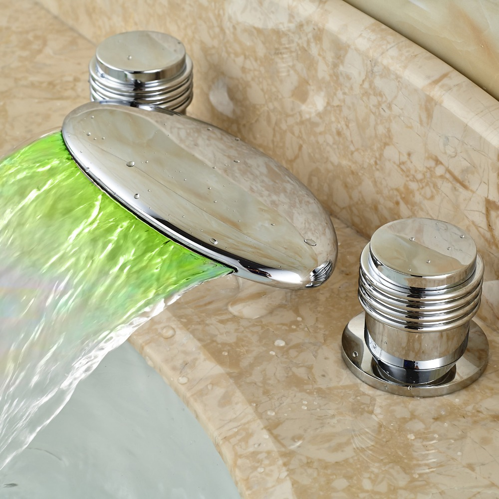 Modern Chrome Brass Bathroom Sink Waterfall Faucet Dual Handle LED Light Basin Mixer Taps Deck Mounted