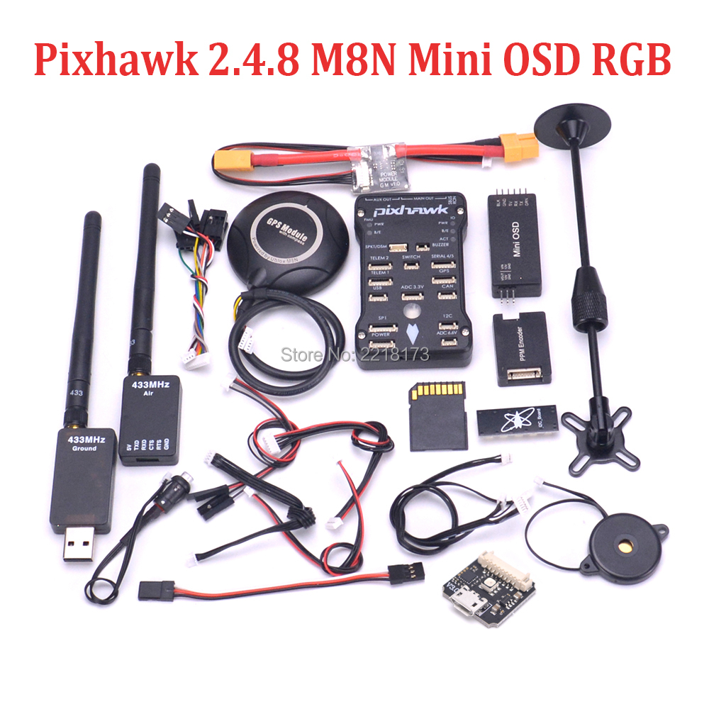 Pixhawk PX4 PIX 2.4.8 32 Bit Flight Controller 433 / 915 100mw 250mw Telemetry M8N GPS Mini OSD Safety Switch Buzzer PPM I2C RGB цены онлайн