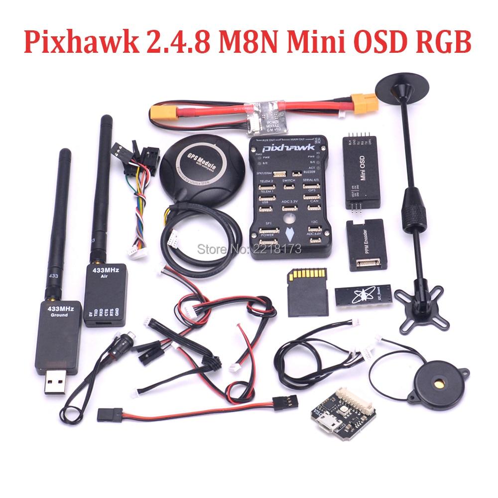 Pixhawk PX4 PIX 2.4.8 32 Bit Controllore di Volo 433/915 100 mw 250 mw Telemetria M8N GPS Mini OSD interruttore di sicurezza Buzzer PPM I2C RGB