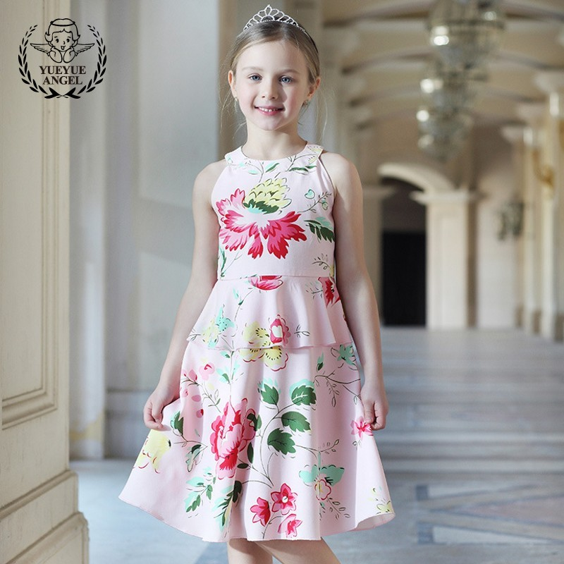 Girls Summer Floral Dress Princess Elegant Wedding Birthday Dresses Sarafan Beach Robe Fille Pink Vestidos Infantil Vestidos