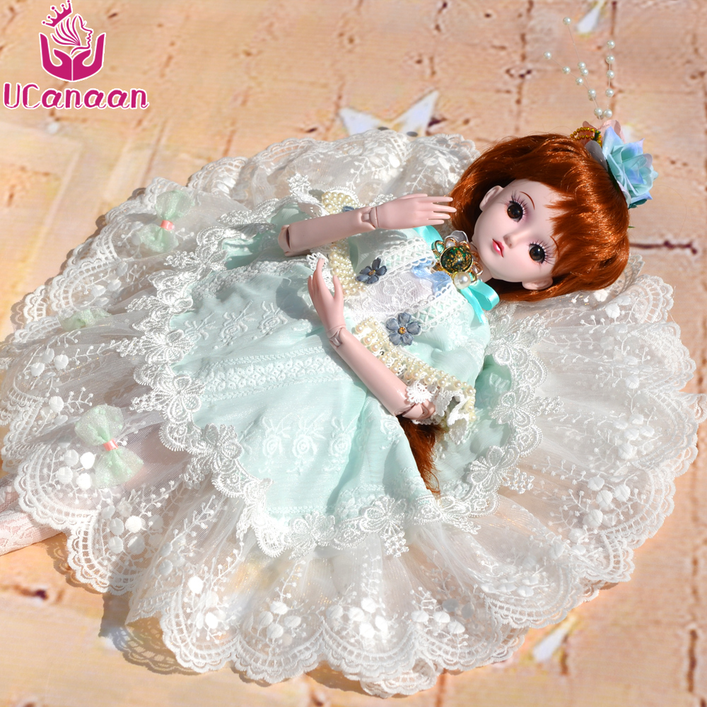 UCanaan 60cm Large BJD Doll Toys Cosplay Rapunzel Dress Wig Clothes Shoes Makeup SD Doll Princess Resin Joints Toys For Girls