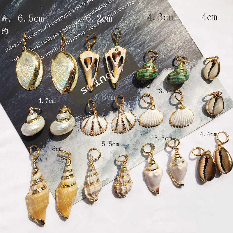 JCYMONG 12 Models Natural Shell Drop Earrings Gold Color Geometric Earrings For Women Bohemian Sea Ocaen Style Earrings Jewelry