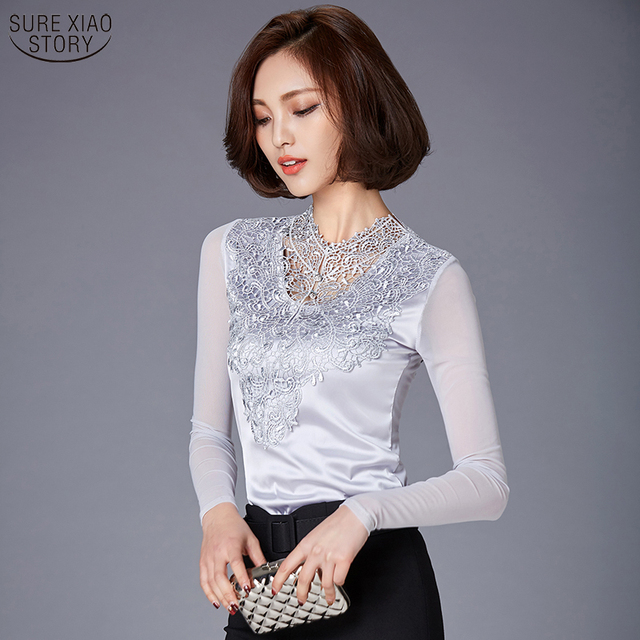 2016 Spring Summer lace blouse New ladies Mesh long sleeve Silk Tops Plus size clothing Patchwork Slim Women lace shirt  808E 25