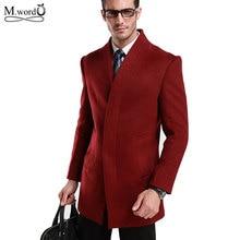 Mwxsd chaqueta de mezcla de lana para hombre, abrigo largo medio de lana, prendas de vestir, 2019