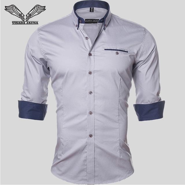 Nueva primavera otoño hombres camisa 2017 de visita del color sólido casual brand clothing 5xl de manga larga camisa masculina social n461