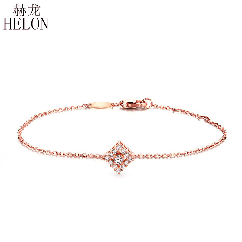HELON Solid 18K 750 Rose Gold 0.2ct SI/H Full Cut Natural Diamonds Women Bracelet Chain Engagement Wedding Party Fine Jewelry solid 18k yellow gold 0 07ct si h full cut natural diamonds drop earrings for women engagement wedding fine jewelry chain
