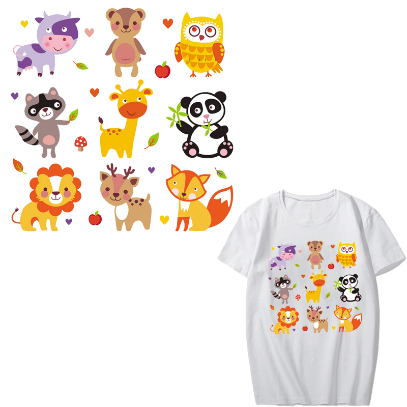 Cute Animal Patch Set Iron on Transfers Owl Panda Lion Patches for Kids Clothing Heat Transfer Vinyl Stickers on Clothes DIY in Patches from Home Garden