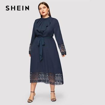 SHEIN Navy Women Plus Size Elegant Contrast Lace Belted Ruffle Trim Maxi Dress Women Stand Collar Long Sleeve Dresses