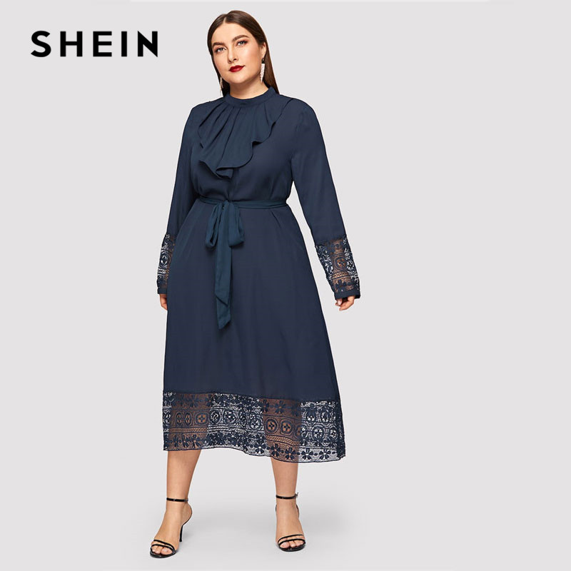 US $21.0 40% OFF|SHEIN Navy Women Plus Size Elegant Contrast Lace Belted  Ruffle Trim Maxi Dress Women Stand Collar Long Sleeve Dresses-in Dresses  from ...