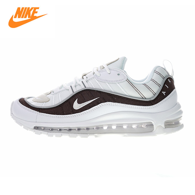 63c528a7a2 Nike Air Max 98 SnakeSkin Men and Women Running Shoes, White & Brown, Shock  Absorption Breathable Lightweight AO9380 100