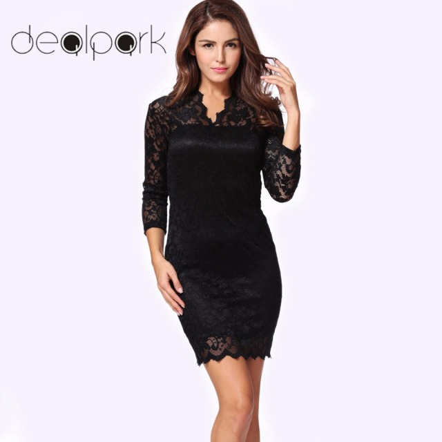383749385e4 Elegant Ladies Office Workwear Lace Dress 2019 Autumn clubwear Women  Bodycon Dress 3 4 long