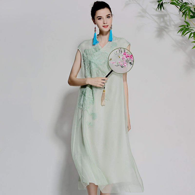 Women beautiful dresses summer vintage royal embroidery floral elegant lady loose sleeveless organza silk party dress M-XL