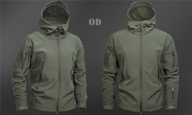 MEGE Men's Military Camouflage Fleece Tactical Jacket Men Waterproof  Softshell Windbreaker Winter Army Hooded Coat Hunt Clothes