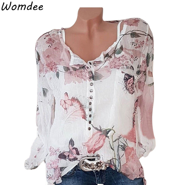 52d10b9ea5dd53 5XL Plus Size Women Tunic Shirt 2018 Autumn Long Sleeve Floral Print V-neck  Blouses And Tops With Button Big Size Women Clothing
