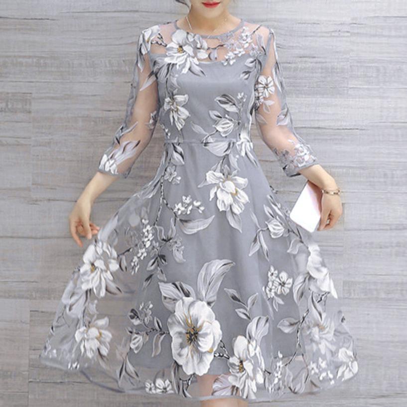 KANCOOLD kleid neue Sommer Organza Blumendruck Hochzeit Kleid Ball Abendkleid kleid frauen AP24