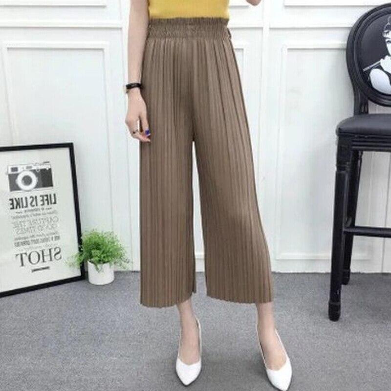 Summer New Fashion   Wide     Leg     Pant   Women Ladies Pleated   Pants   Loose Solid Chiffon Trousers Stretch Waist Boho   Pants   OL Pantalon