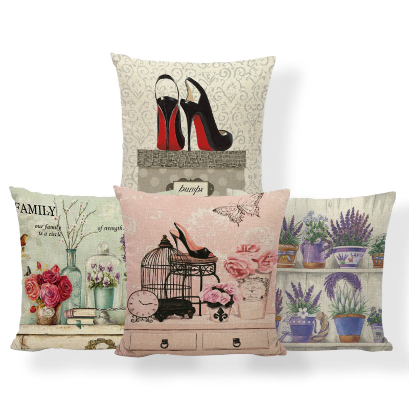 Plant Flowers Cushion Butterfly Hydrangea Pillows High Heels Perfume Recliner Waist Support Throw Pillow Cover 45X45Cm Polyester